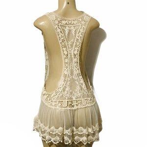 Bikini sheer lace crochet beach cover up tunic S/M